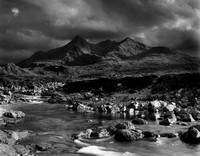 Sligachan river and Black Cuillin, Isle of Skye
